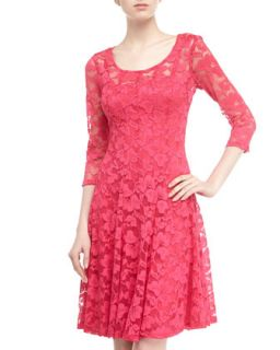 Long Sleeve Lace Cocktail Dress, Geranium