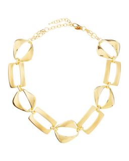 Geometric Link Necklace, Golden