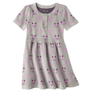 Infant Toddler Girls Short Sleeve Knit Fox Dress   Grey 5T