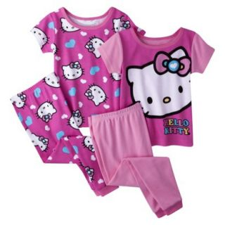 Hello Kitty Toddler Girls 4 Piece Short Sleeve Pajama Set   Pink 2T