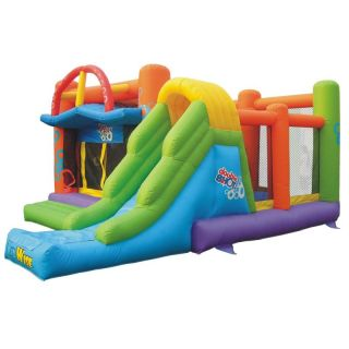 Kidwise Commercial Double Shot Bouncer Interactive Inflatable Multicolor   KW