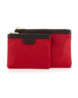 Two Piece Saffiano Trim Nylon Cosmetic Bag Boxed Set, Red