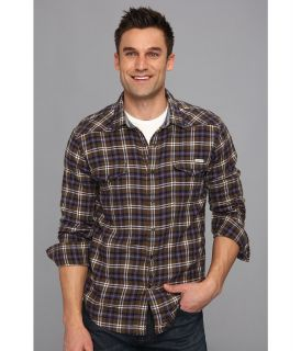 Lucky Brand Shelton Crinkle Western Mens Long Sleeve Button Up (Brown)