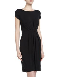 Gathered Pleated Jersey Dress, Black