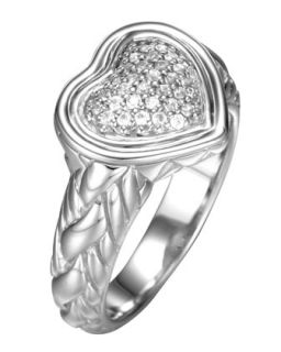 Diamond Pave Heart Ring, Size 7