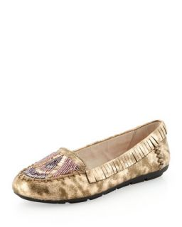 Marion Beaded Flat Moccasin, Rose Gold