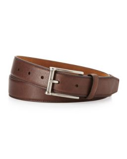 Pebbled Leather Belt, Dark Brown