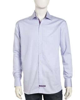 Long Sleeve Plaid Button Front Poplin Dress Shirt, Lilac