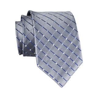 Stafford Dotted Grid Silk Tie, Silver, Mens