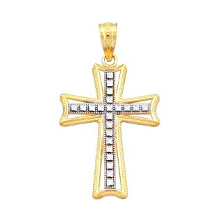 14K Two Tone Gold Textured Cross Charm, Womens