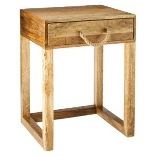 Accent Table Threshold Nautical Accent Table With Rope Handle   Natural