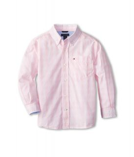 Tommy Hilfiger Kids Mander Gingham Woven Shirt Boys Long Sleeve Button Up (Pink)