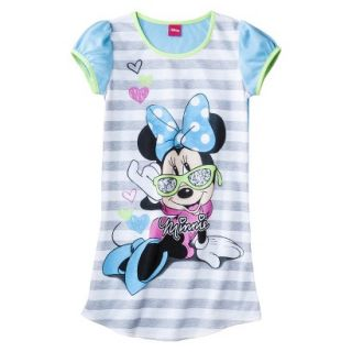 Disney Minnie Mouse Girls Short Sleeve Nightgown   Blue S