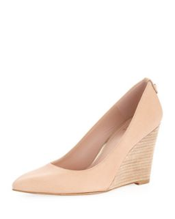 Womens Logopower Point Toe Wedge Pump, Flesh   Stuart Weitzman