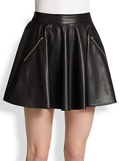 Line & Dot Faux Leather Skater Skirt   Black