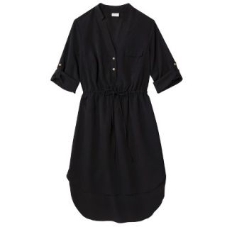 Merona Womens Drawstring Shirt Dress   Black   S