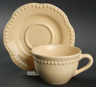 Pottery Barn Emma Yellow Flat Cup & Saucer Set, Fine China Dinnerware   All Yell
