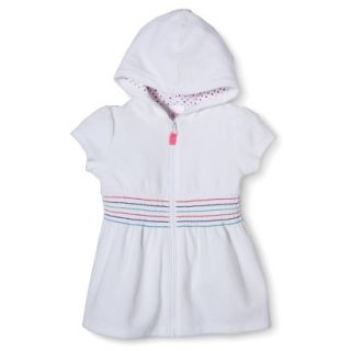 Circo Infant Toddler Girls Hooded Cover Up Dress   White 12 M