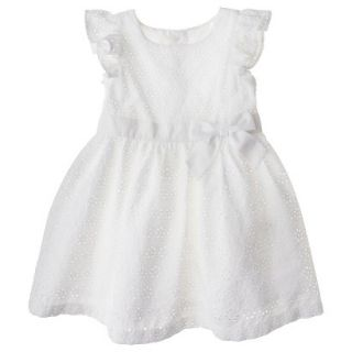 Cherokee Infant Toddler Girls Eyelet Flutter Sleeve Dress   White 12 M