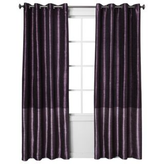 Threshold Banded Faux Silk Window Panel   Wine (54x95)