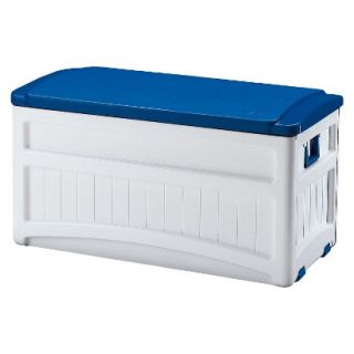 Suncast Deck Box with Wheels White/Blue   73 Gallon