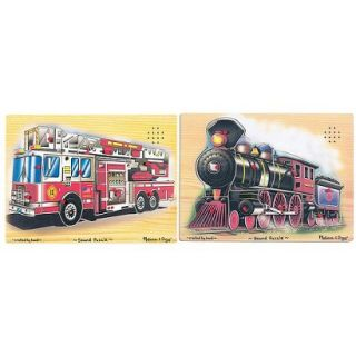 Melissa & Doug Train and Fire Truck Sound Puzzles