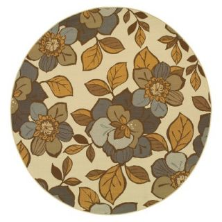 Alyse Floral Indoor/Outdoor Round Area Rug   710