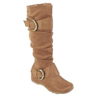Womens Bamboo By Journee Slouchy Buckle Boots   Camel 9.5W