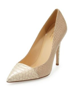 Womens leann snake print pointy toe pump, natural   kate spade new york