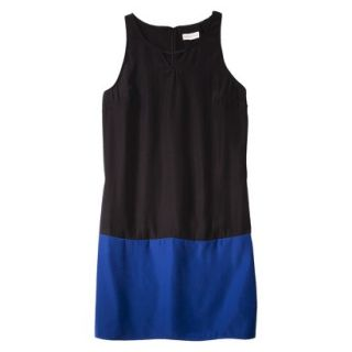 Merona Womens Colorblock Hem Shift Dress   Black/Waterloo Blue   16