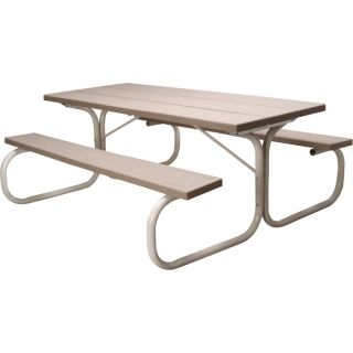 Leisure Time Commercial Injection Molded Picnic Table with Steel Frame   72