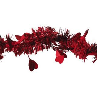 9 Pre Lit Heart Tinsel Garland   Red Lights