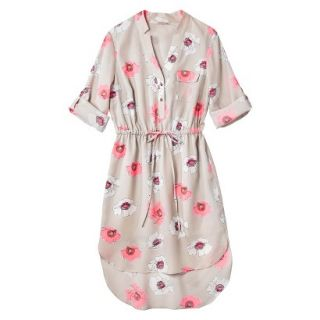 Merona Womens Drawstring Shirt Dress   Pink Floral   XL
