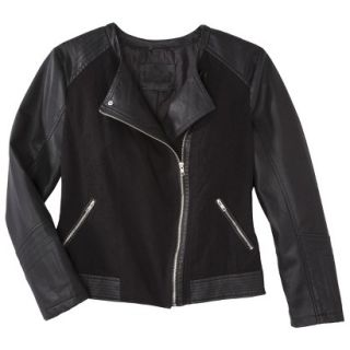 Pure Energy Womens Plus Size Faux Leather Motorcycle Jacket   Black 2X