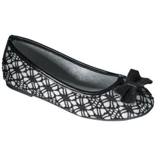 Girls Caralynn Lace and Glitter Ballet Flat   Black 10/11