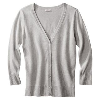 Merona Womens Ultimate 3/4 Sleeve Crew Neck Cardigan   Heather Gray   L