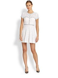 BCBGMAXAZRIA Gill Studded Lace Dress   White