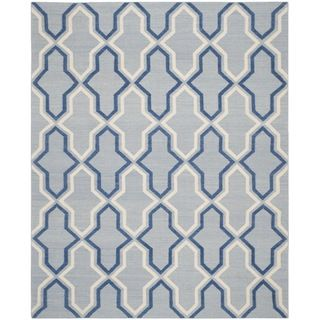 Safavieh Hand woven Moroccan Dhurries Light Blue/ Dark Blue Wool Rug (8 X 10)