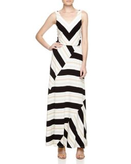 Chevron & Mixed Stripe Maxi Dress, Black/Ivory/Silver/Gold