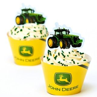 John Deere Tractor Cupcake Wrappers and Picks