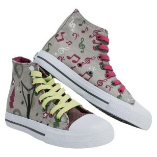 Girls Xolo Shoes Rocker Girl High Top Canvas Sneakers   Gray 2