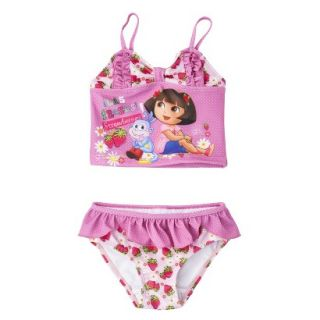 Dora the Explorer Toddler Girls 2 Piece Tankini Swimsuit Set   Pink 5T