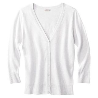 Merona Womens Ultimate 3/4 Sleeve Crew Neck Cardigan   Fresh White   XS