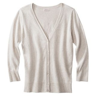 Merona Womens Ultimate 3/4 Sleeve Crew Neck Cardigan   Oatmeal   S