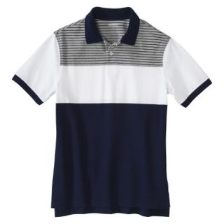 Mens Classic Fit Colorblock Polo Shirt Navy White grey stripe Voyage L
