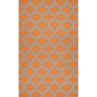 Fretwork Flat Weave Area Rug   Pumpkin (8x11)