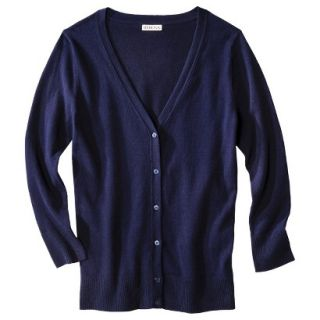 Merona Womens Ultimate 3/4 Sleeve Crew Neck Cardigan   Xavier Navy   XS