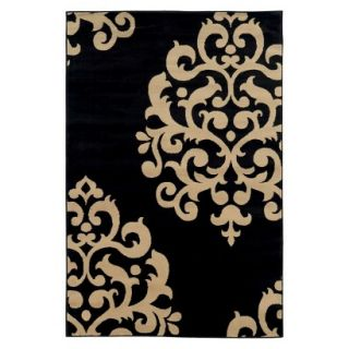Damask Area Rug   Black (710x10)