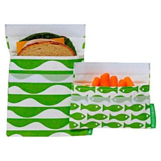 LunchSkins Reusable Sandwich and Reusable Snack Bag   Green Tide