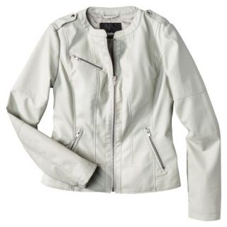 Mossimo Womens Faux Leather Jacket  Ivory L